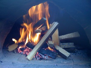 Burning Kindling in the oven entrance
